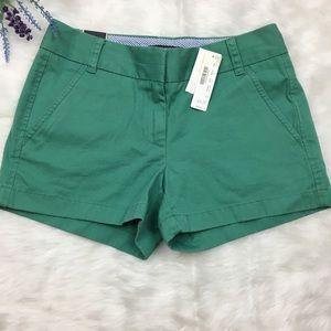 "NWT. J. Crew size 0 Chino 3"" inseam Sage Shorts"